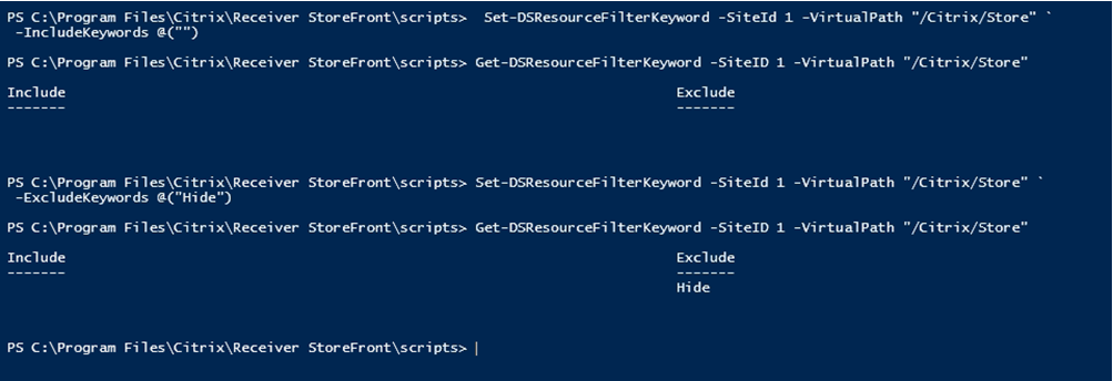 citrix storefront filtering powershell windows
