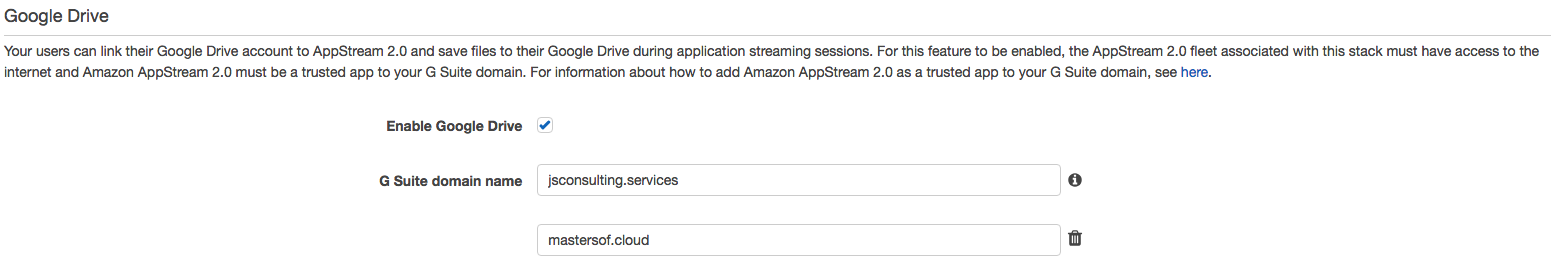 Screenshot of google drive integration for AWS AppStream 2.0