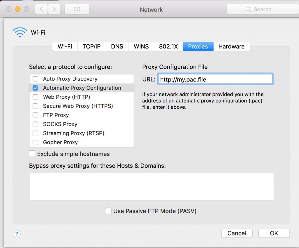 Mac automatic proxy configuration